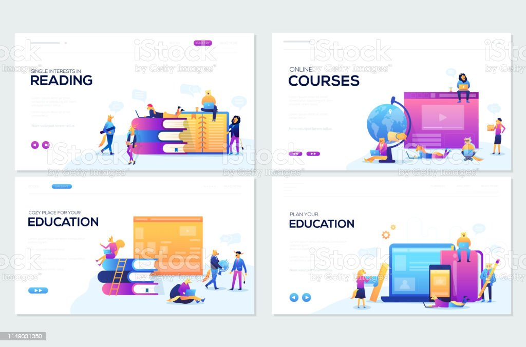 Website And Mobile Website Development Illustration Concepts Set Of Web Page Design Templates For Online Courses Distance Education Elearning Tutorials Modern Vector Web Stock Illustration Download Image Now Istock
