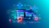Cross platform website, app design development on laptop, phone, tablet. Technology of create software, code of mobile applications. Programming responsive layout of graphic interface, ui, ux concept.