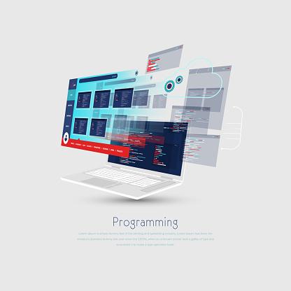 Website, app design development. Technology software, code. Programming, ui, ux concept. stock illustration