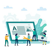Teamwork strategy. Web page building process, website layout and interface development. Vector illustration
