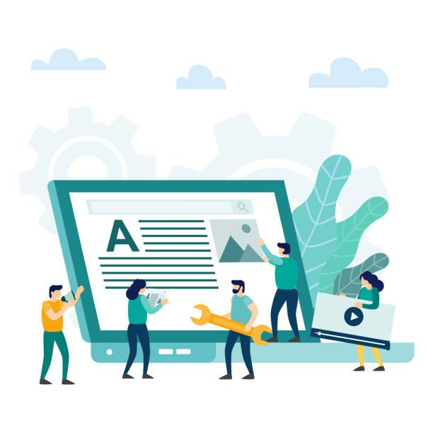stockillustraties, clipart, cartoons en iconen met website toepassing creatief ontwerp ontwikkelingsconcept. - bloggen