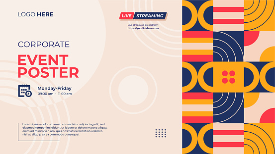Website banner template for corporate event poster with Neo geometric pattern