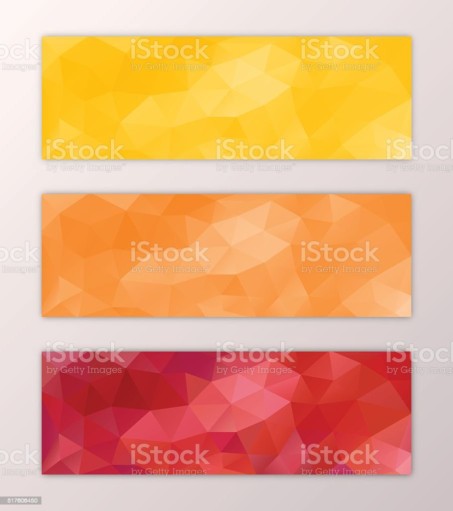 Website banner template set abstract triangle polygon background design vector art illustration