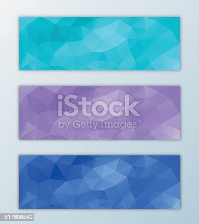 Website banner template set triangle polygon background design