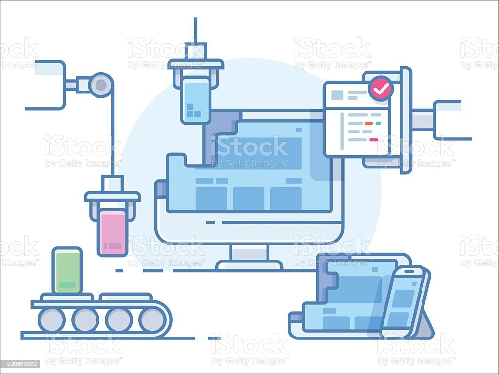 Website building design vector art illustration