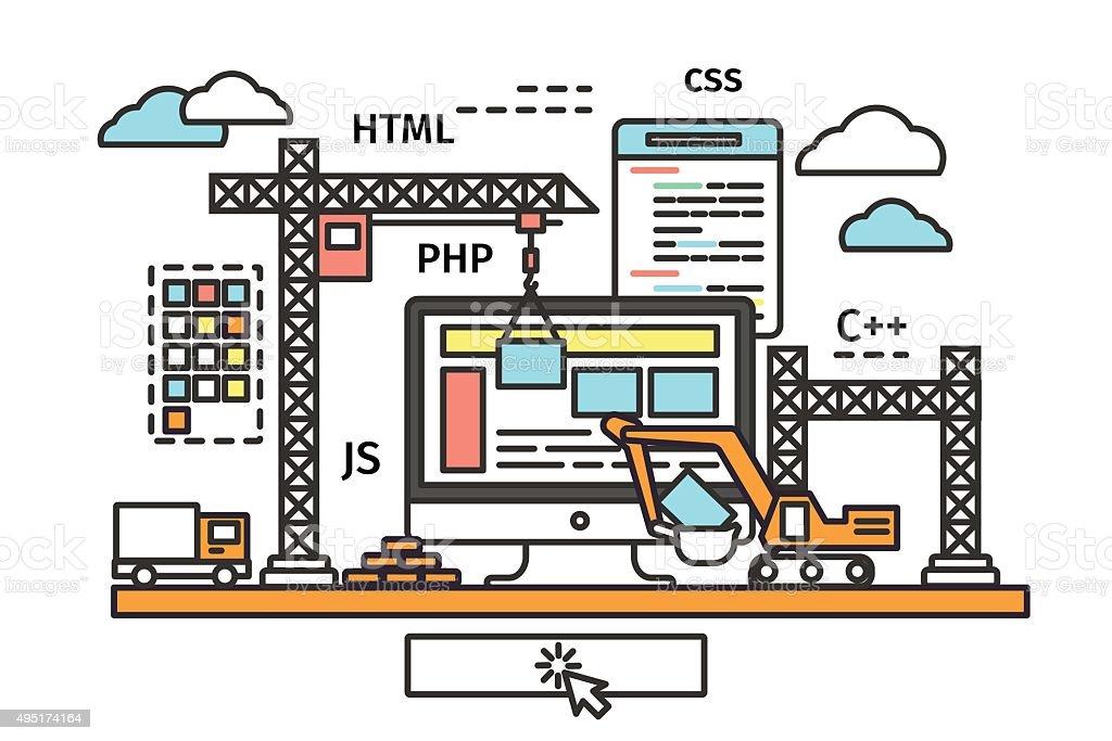 website building process vector art illustration