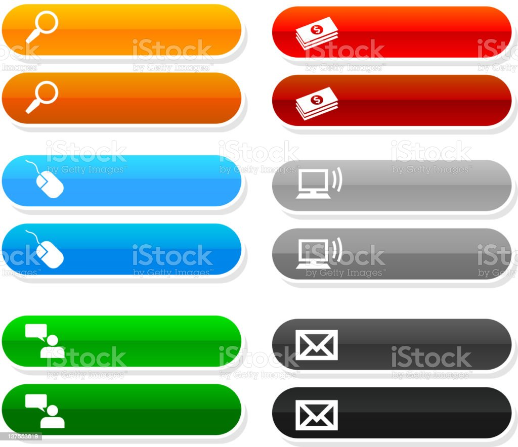 website buttons with rollovers royalty-free stock vector art