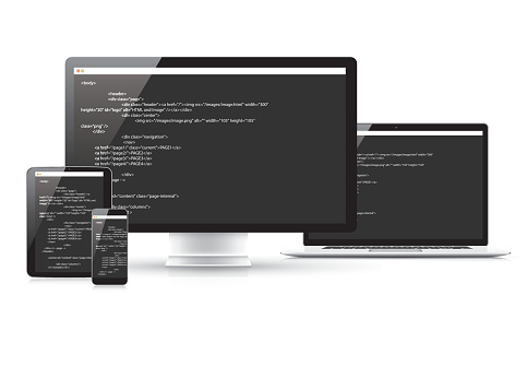 Website coding development vector concept in electronic devices