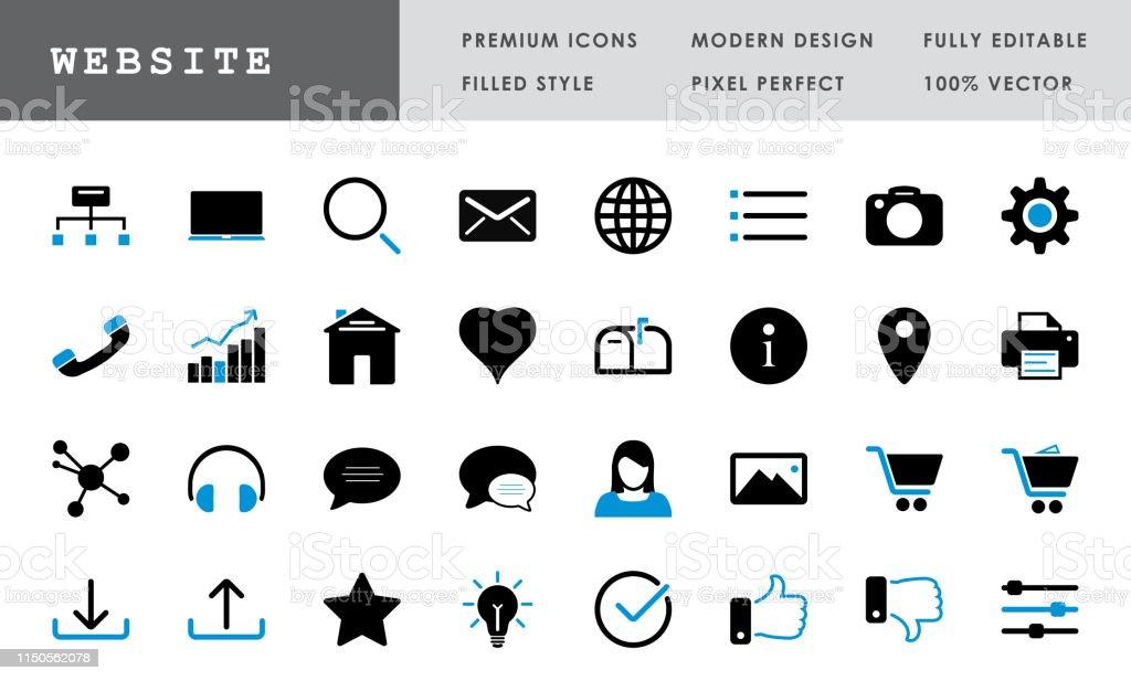 Website Collectionbold Pixel Perfect Vector Icons Stock Vektor Art