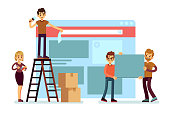 Website construction and webdesign ui building with people team. Web interface development vector concept