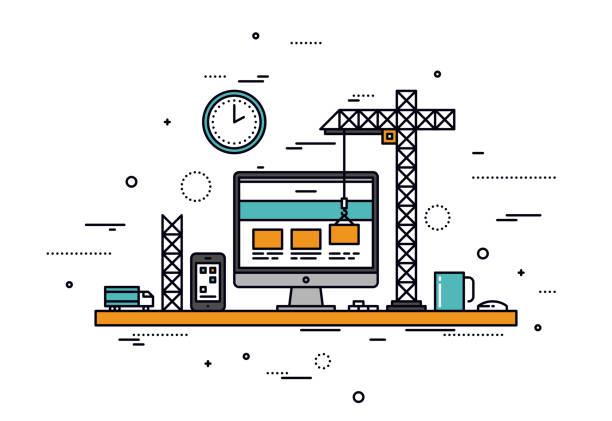 Website construction line style illustration vector art illustration