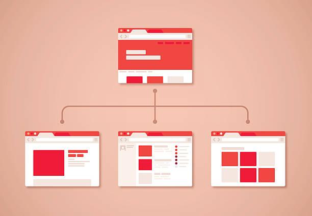 website design browser - wire frame model stock illustrations