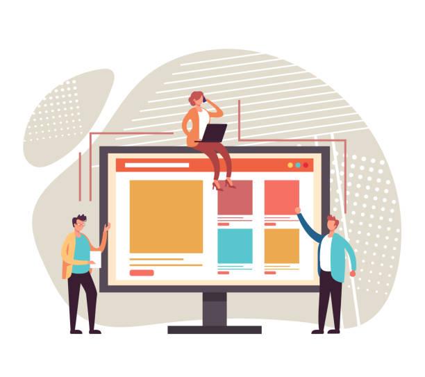 Website design development concept. Vector flat graphic design cartoon illustration vector art illustration