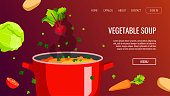 Website design for Healthy food and cooking, Natural products, Recipes, Online menu. Pan of soup and fresh vegetables. Vector illustration for poster, banner, menu, advertising, website, flyer.