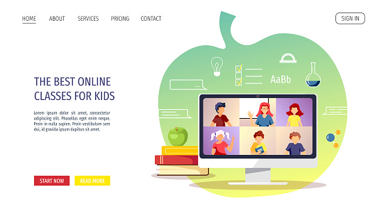 Website design for Online Education, Distance learning, Communication, Teaching, Study, School. Teacher and kids studying by internet.