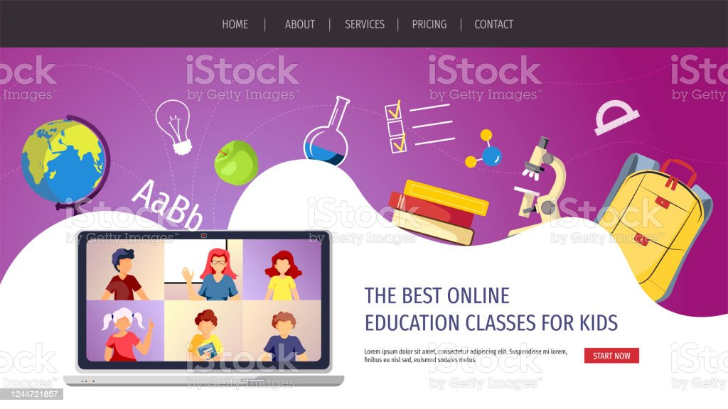 Website Design For Online Education Distance Learning Communication Teaching Study School Teacher And Kids Studying By Internet Vector Illustration For Poster Banner Presentation Flyer Stock Illustration Download Image Now Istock