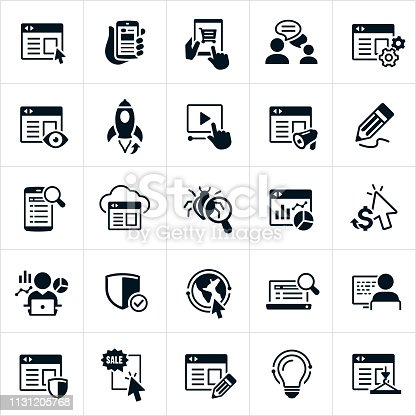A set of icons of webpages, websites and website design. The icons include webpages, responsive design, websites on desktops and mobile phones, e-commerce functionality, chat, blog, website views, launch, video capabilities, marketing, editing, internet search, hosting, computer bugs, web traffic and statistics, pay per click advertising, cyber security, website coding, banner ads, creativity and construction to name a few.