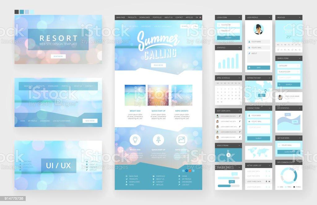 Website Design Vorlage Und Interfaceelemente Stock Vektor Art und ...