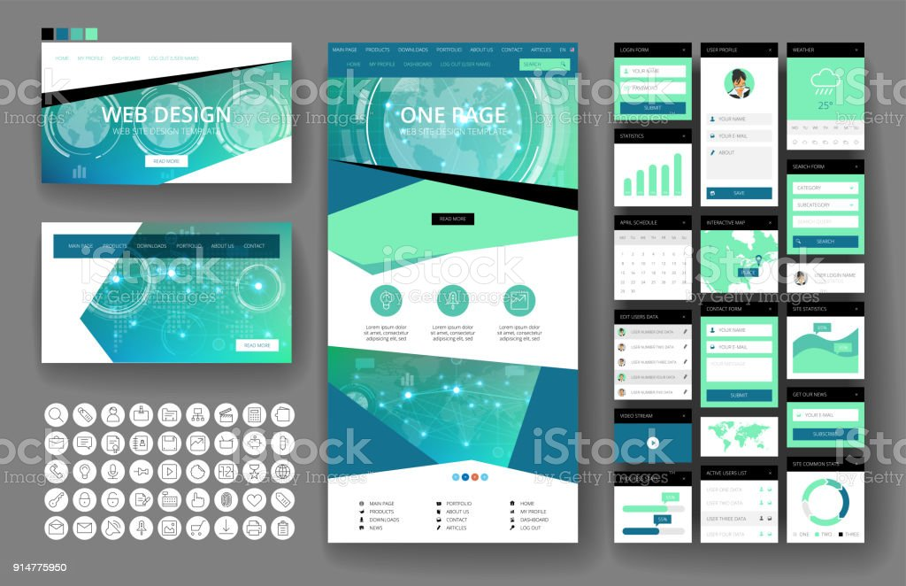 Website design template and interface elements vector art illustration