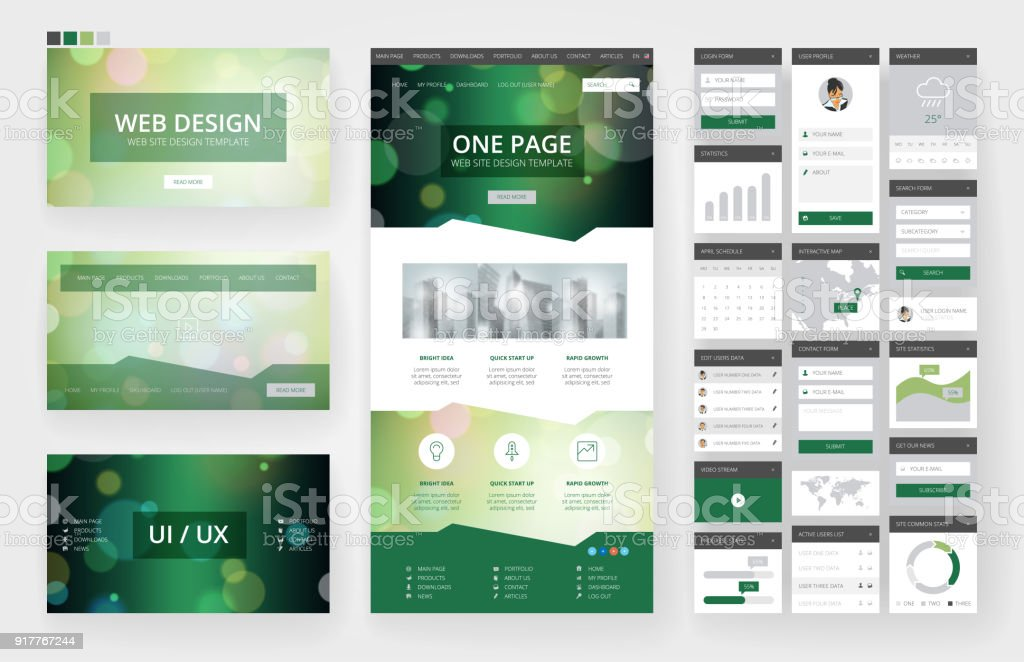 Homepage Design Vorlagen | Website Design Vorlage Und Interfaceelemente Stock Vektor Art Und