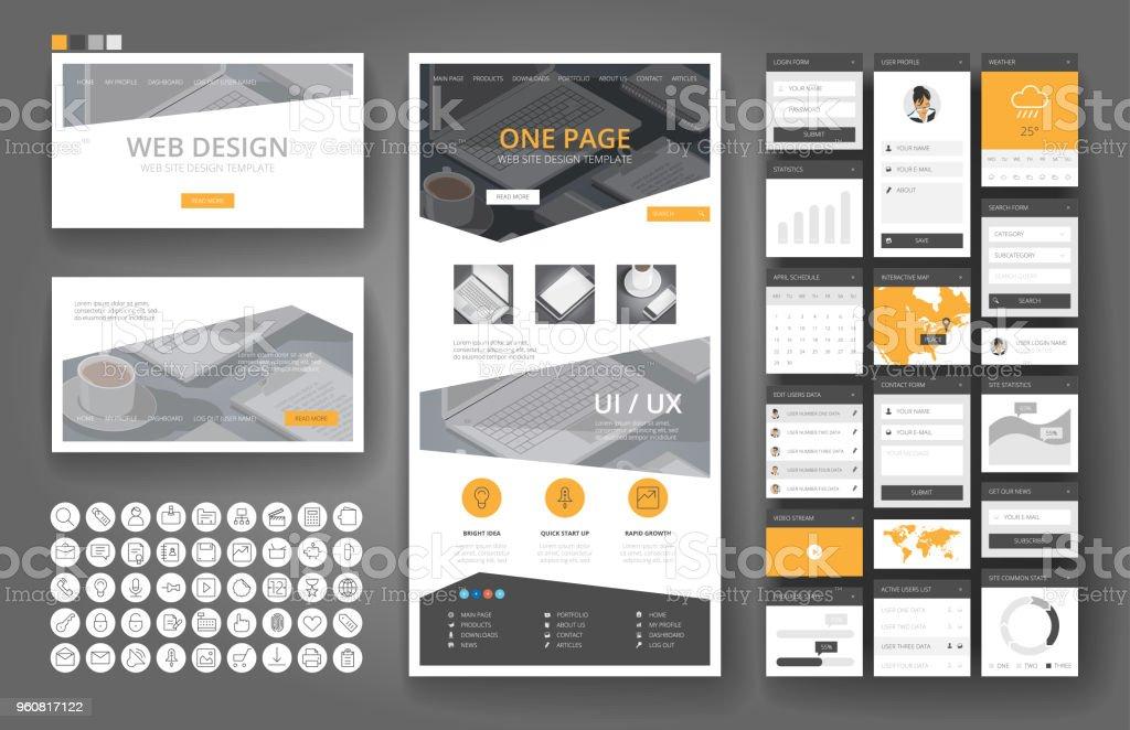 Website design template and interface elements - illustrazione arte vettoriale