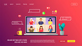Website design template for Video conferencing, Online meeting, Work at home, Distance learning. Laptop screen with chatting people. Vector illustration for poster, banner, website, advertising.