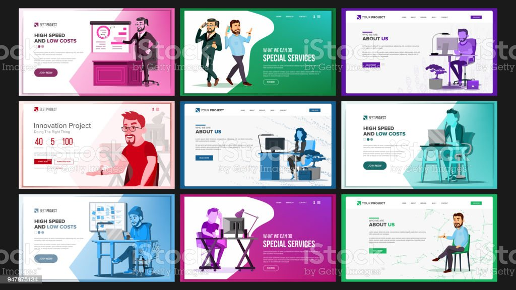 Website Design Template Set Vector. Business Landing. IT Technology. Modern Online Services Architecture. Landing Page, Web, Site. Cartoon Person. Creative Project. Optimization Progress. Illustration vector art illustration
