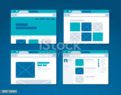 Webpage and website design browser wireframe concept. EPS 10 file. Transparency effects used on highlight elements.