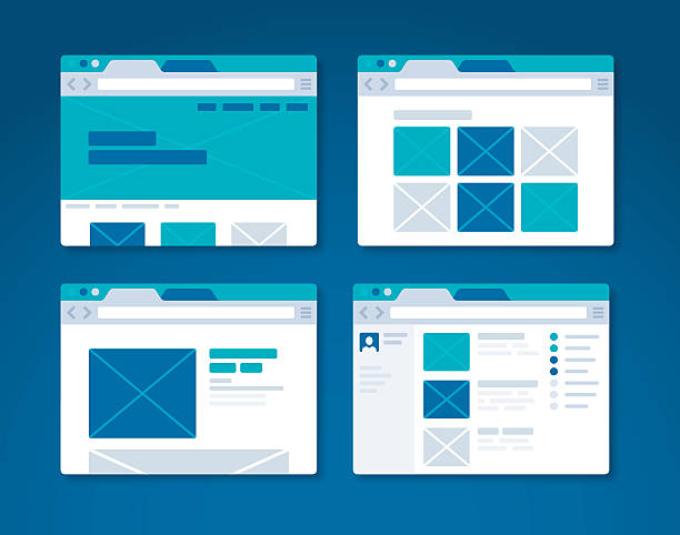 website design wireframe internet browser - email templates stock illustrations