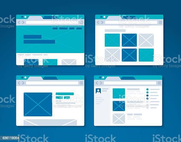 Website Design Wireframe Internet Browser Stock Illustration - Download Image Now