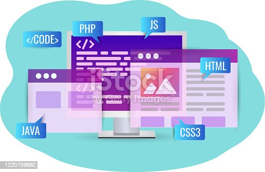 Website development, program code. Personal computer with program code and a web page for the website and mobile app. cross-platform code on php, java, html, css.