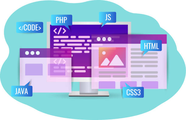 website-entwicklung, programmcode. persönlicher computer - html stock-grafiken, -clipart, -cartoons und -symbole