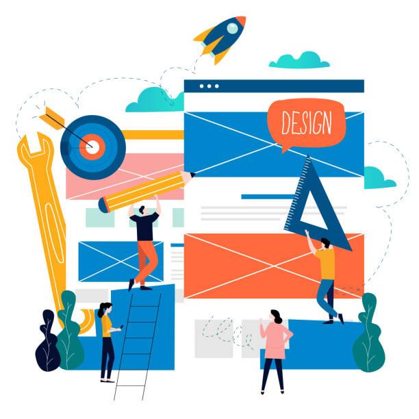 Website development, web page construction, landing page building process vector art illustration