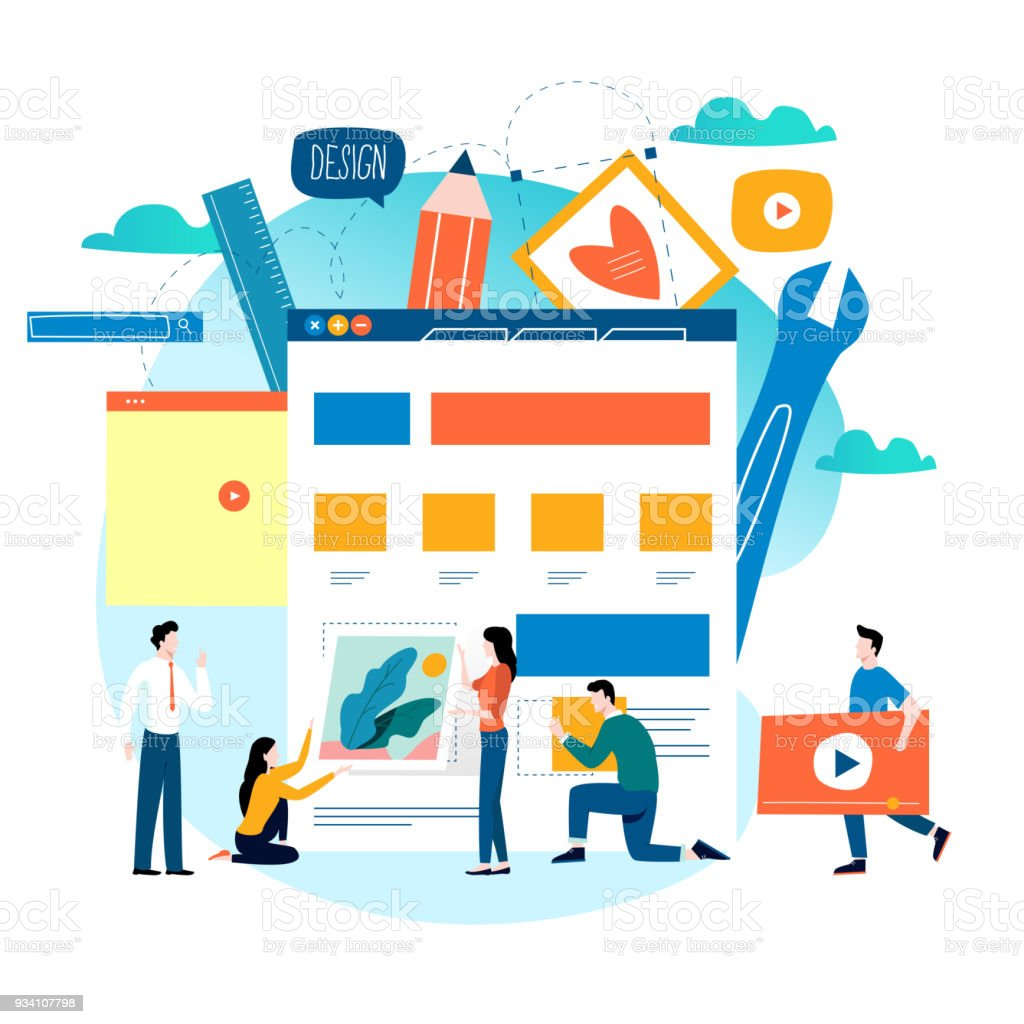 Website development, website construction, web page building process vector art illustration