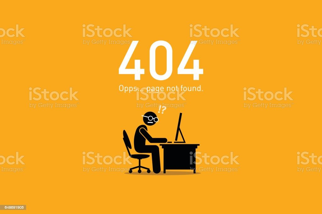 Website Error 404. Page Not Found. vector art illustration