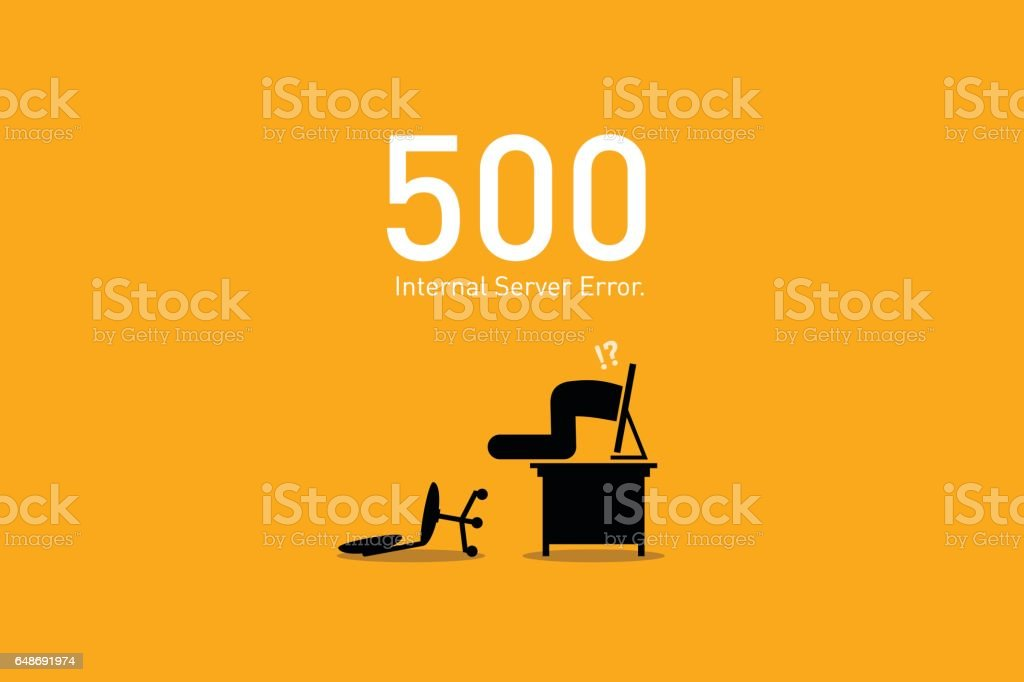 Website Error 500. Internal Server Error. vector art illustration