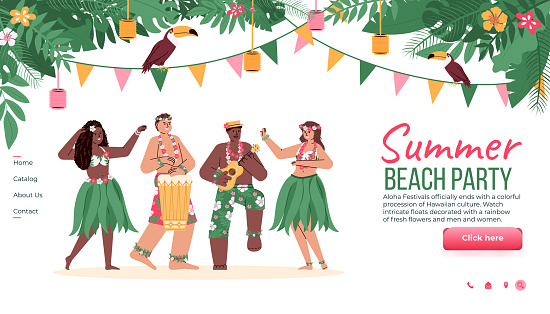 Website for summer beach party with Hawaiian dancers cartoon vector illustration.