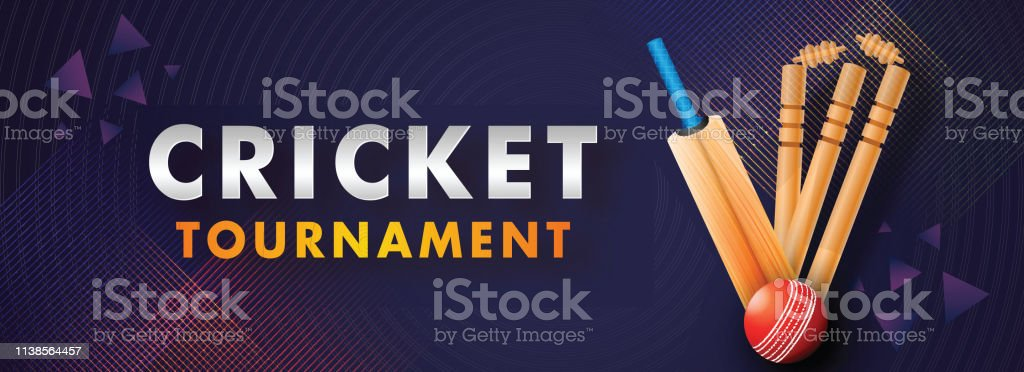 Website Header Banner Or Poster Design Of Cricket Tournament With