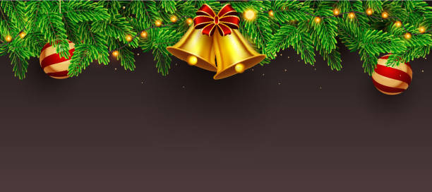 Website header or banner design decorated with golden jingle bell, pine leaves, baubles and lighting garland on brown background with space for your message. vector art illustration