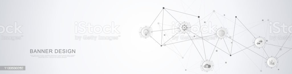 Website header or banner design with abstract geometric background...