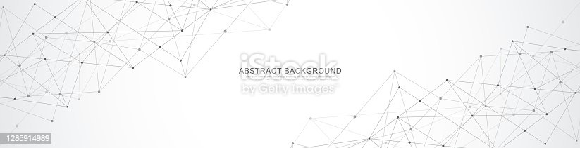 istock Website header or banner design with abstract geometric background and connecting dots and lines. Global network connection. Digital technology with plexus background and space for your text. 1285914989