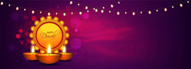 Website header or banner design with illuminated oil lamps (Diya) and lighting garland decorated on brown background for Happy Diwali celebration. Website header or banner design with illuminated oil lamps (Diya) and lighting garland decorated on brown background for Happy Diwali celebration. diwali stock illustrations