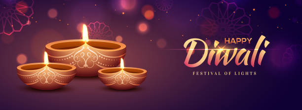 website header or banner design with illuminated oil lamps (diya) and shiny text happy diwali on purple floral background for indian festival celebration. - diwali stock illustrations