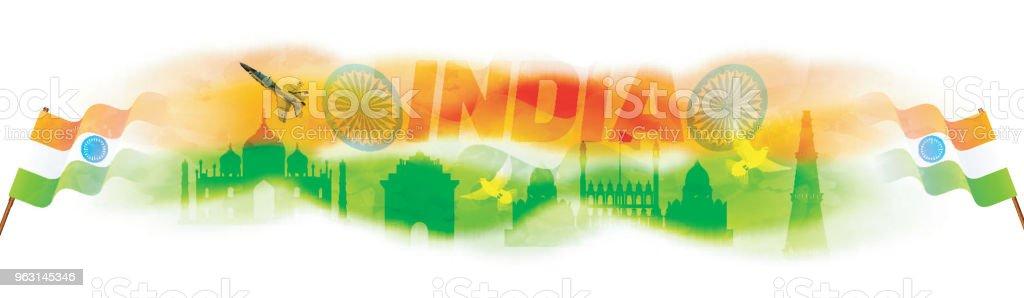 Sidhuvud eller banner webbdesign med indiska flaggor vajande och indiska monument på bakgrunden. - Royaltyfri Bildbakgrund vektorgrafik