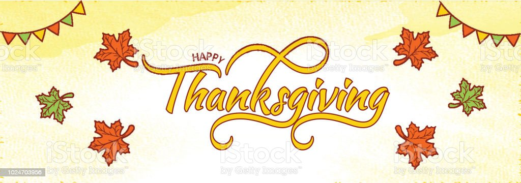 Website Header Or Banner Design With Typography Of Thanksgiving On Grunge Yellow Background Decorated With Bunting