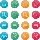 Vector white outlines flat colored icon set for website