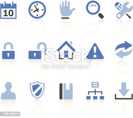 Vector icons. Simple blue series. Icons + reflection (on a separate layer). EPS8, JPEG + AI CS3