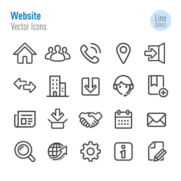 Website Icons - Vector Line Series Website, web page, internet web address stock illustrations