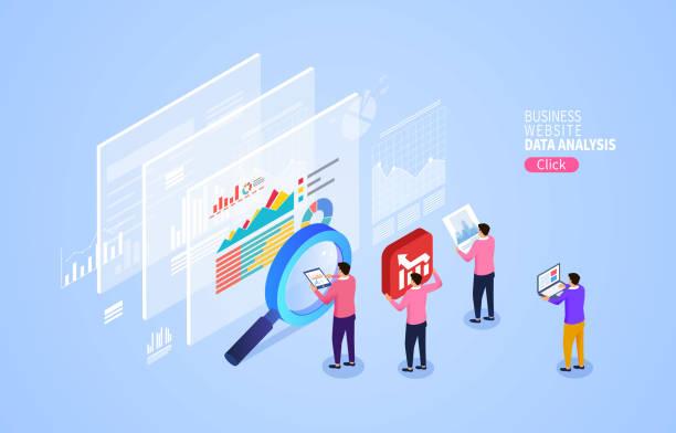 Analyse und Statistik der Website, Überwachung des Wachstumsindex – Vektorgrafik
