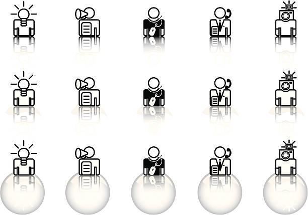 ilustraciones, imágenes clip art, dibujos animados e iconos de stock de & internet sitio web iconos – ocupaciones: agencia de publicidad - gerente de cuentas